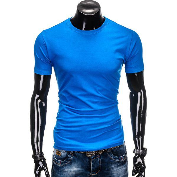 6c5f24407e T-SHIRT MĘSKI BEZ NADRUKU S884 - NIEBIESKI - Niebieskie t-shirty męskie  Ombre Clothing
