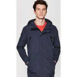 Odzież męska: Płaszcz o sportowym kroju z kapturem - Granatowy