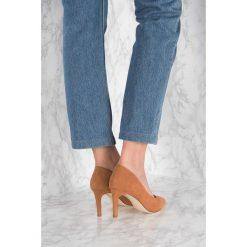 Buty ślubne damskie: NA-KD Shoes Zamszowe czółenka ze spiczastymi noskami - Brown