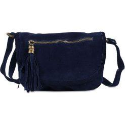 """Skórzana torebka """"Nita"""" w kolorze granatowym - 27 x 19 x 4,5 cm. Niebieskie torebki klasyczne damskie Spéciale Maroquinerie, w paski, z materiału. W wyprzedaży za 112,95 zł."""