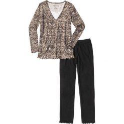 Piżamy damskie: Piżama bonprix czarno-brązowy wzorzysty