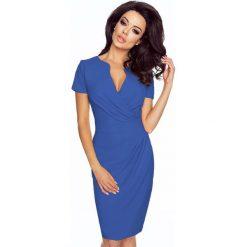 Niebieska Elegancka Sukienka z Założeniem Kopertowym. Czarne sukienki balowe marki bonprix, do pracy, w paski, moda ciążowa. Za 198,90 zł.