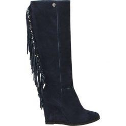 Kozaki ocieplane - 1395 CAM BLU. Czarne buty zimowe damskie marki Kazar, ze skóry, na wysokim obcasie. Za 239,00 zł.