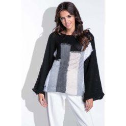 Swetry damskie: Wielokolorowy Czarny Nietoperzowy Sweter