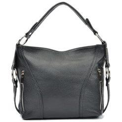 Torebki i plecaki damskie: Skórzana torebka w kolorze czarnym – (S)25 x (W)32 x (G)8,5 cm