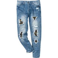 """Dżinsy Regular Fit Tapered bonprix niebieski """"used"""". Zielone jeansy męskie regular marki bonprix, w kropki, z kopertowym dekoltem, kopertowe. Za 149,99 zł."""