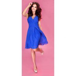 Sukienki: Chabrowa Sukienka Wieczorowa z Szyfonu z Dekoltem V