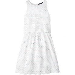 Sukienki dziewczęce z falbanami: Sukienka z haftem bonprix biały w kropki