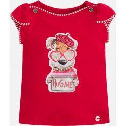 Mayoral - Top dziecięcy 98-134 cm. Czerwone bluzki dziewczęce Mayoral, z nadrukiem, z bawełny, z dekoltem w łódkę, z krótkim rękawem. Za 84,90 zł.