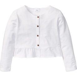 Bluzy dziewczęce: Bluza rozpinana z falbankami bonprix biały