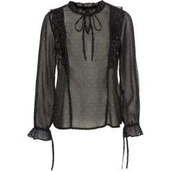 Bluzki asymetryczne: Bluzka z falbanami bonprix czarno-biały w kropki