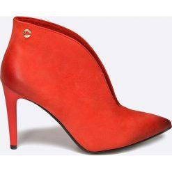 Carinii - Botki. Czerwone buty zimowe damskie marki Carinii, z materiału, na obcasie. W wyprzedaży za 199,90 zł.