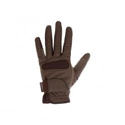 Rękawiczki jeździeckie Grippy. Brązowe rękawiczki męskie FOUGANZA, z elastanu. Za 39,99 zł.
