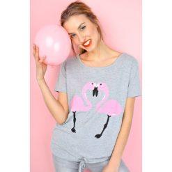 Bluzki asymetryczne: Bluzka oversize z flamingami
