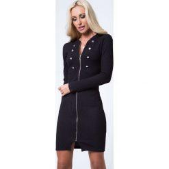 Sukienka zapinana na suwak czarna 16050. Białe sukienki marki Fasardi, l. Za 63,20 zł.