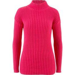 Swetry klasyczne damskie: Sweter ze stójką bonprix różowy hibiskus