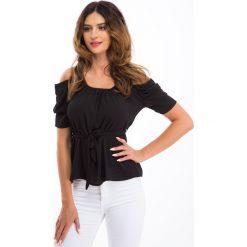 Bluzki damskie: Czarna bluzka z wiązaniem w talii 2129