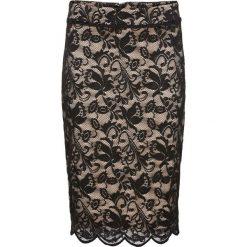 Spódniczka koronkowa bonprix czarno-cielisty. Czarne spódniczki ołówkowe bonprix, w koronkowe wzory, z koronki, biznesowe. Za 79,99 zł.