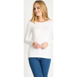 Bluzki damskie: Biała bluzka basic z łezką na plecach QUIOSQUE
