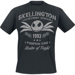 Miasteczko Halloween Jack Skellington T-Shirt czarny. Czarne t-shirty męskie z nadrukiem Miasteczko Halloween, l, z okrągłym kołnierzem. Za 89,90 zł.