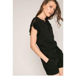 Answear - Kombinezon. Szare kombinezony damskie marki ANSWEAR, l, z tkaniny, z okrągłym kołnierzem, z krótkim rękawem, krótkie. W wyprzedaży za 99,90 zł.