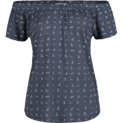 Topy damskie: Urban Surface Hearts and Anchors Top Offshoulder granatowy