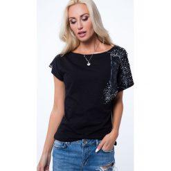 T-shirt błyszczącymi elementami czarny ZZ1076. Czarne t-shirty damskie Fasardi, l. Za 55,20 zł.