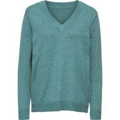 Swetry klasyczne damskie: Sweter bonprix zielony melanż