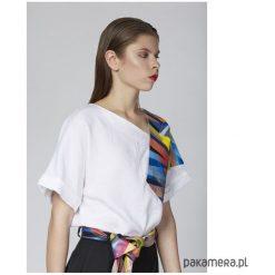 Lniana bluzka z malowaną grafiką. Szare bluzki z odkrytymi ramionami Pakamera. Za 340,00 zł.