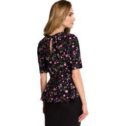 GOTZONE Bluzka z baskinką i wiązaniem - model 1. Czarne bluzki z odkrytymi ramionami marki Molly.pl, l, z poliesteru, klasyczne, z klasycznym kołnierzykiem. Za 109,99 zł.