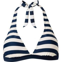 Stroje kąpielowe damskie: Biustonosz bikini z ramiączkami wiązanymi na szyi bonprix niebiesko-beżowy