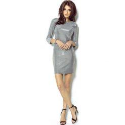 Srebrna Sukienka Wieczorowa Błyszcząca z Dekoltem na Plecach. Fioletowe sukienki koktajlowe marki Molly.pl, na studniówkę, l, z długim rękawem, dopasowane. Za 139,90 zł.
