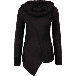 Swetry klasyczne damskie: Asymetryczny sweter dzianinowy bonprix czarny