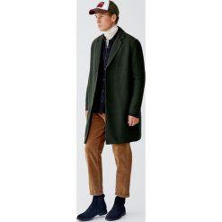 Płaszcz basic z sukna. Zielone płaszcze na zamek męskie Pull&Bear, m. Za 299,00 zł.