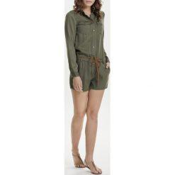Kombinezony damskie: Krótki kombinezon w stylu koszulowym, długi rękaw