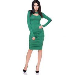 Sukienki: Zielona Marszczona Sukienka Bodycon z Wyciętym Dekoltem