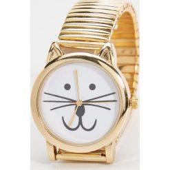 Zegarki damskie: Zegarek z kotem – Beżowy