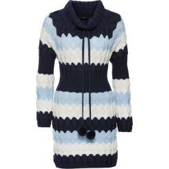 Swetry klasyczne damskie: Długi sweter bonprix ciemnoniebiesko-lodowy niebieski -biel wełny w paski