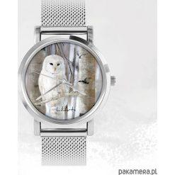 Zegarki męskie: Zegarek – Biała sowa – metalowy