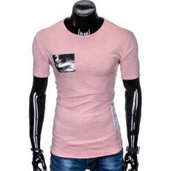 T-SHIRT MĘSKI Z NADRUKIEM S983 - PUDROWY RÓŻ. Czerwone t-shirty męskie z nadrukiem Ombre Clothing, m. Za 29,00 zł.