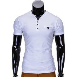 T-shirty męskie: T-SHIRT MĘSKI BEZ NADRUKU S764 – BIAŁY