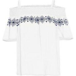 Bluzka z haftem bonprix biały. Białe bluzki z odkrytymi ramionami bonprix, z haftami, z kołnierzem typu carmen. Za 89,99 zł.