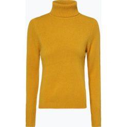 Franco Callegari - Damski sweter z wełny merino, żółty. Zielone golfy damskie marki Franco Callegari, z napisami. Za 229,95 zł.