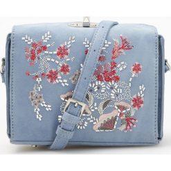 Torebki klasyczne damskie: Torebka z kwiatowym haftem – Niebieski