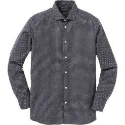 Koszula flanelowa Regular Fit bonprix szary wzorzysty. Białe koszule męskie marki bonprix, z klasycznym kołnierzykiem, z długim rękawem. Za 89,99 zł.