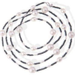 Naszyjniki damskie: Naszyjnik z pereł i kamieni hematytu – (D)120 cm