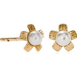 Kolczyki damskie: Piękne Kolczyki Złote – złoto żółte 375, Perła