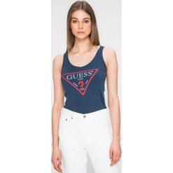 Guess Jeans - Top. Szare topy damskie marki Guess Jeans, l, z aplikacjami, z bawełny. W wyprzedaży za 99,90 zł.