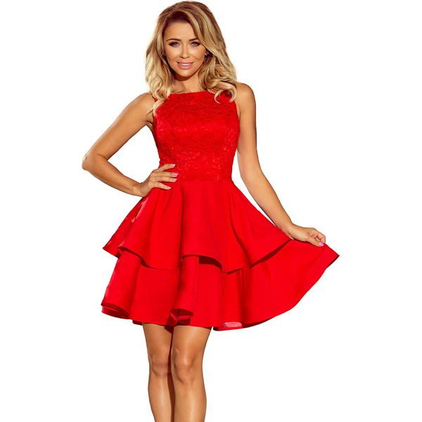 2e23df0cc3 Czerwona Wyjściowa Podwójnie Rozkloszowana Sukienka z Koronką ...
