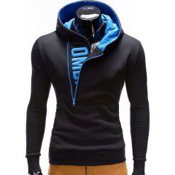 Bluzy męskie: BLUZA MĘSKA Z KAPTUREM I NADRUKIEM DENIS – CZARNY Z TURKUSEM
